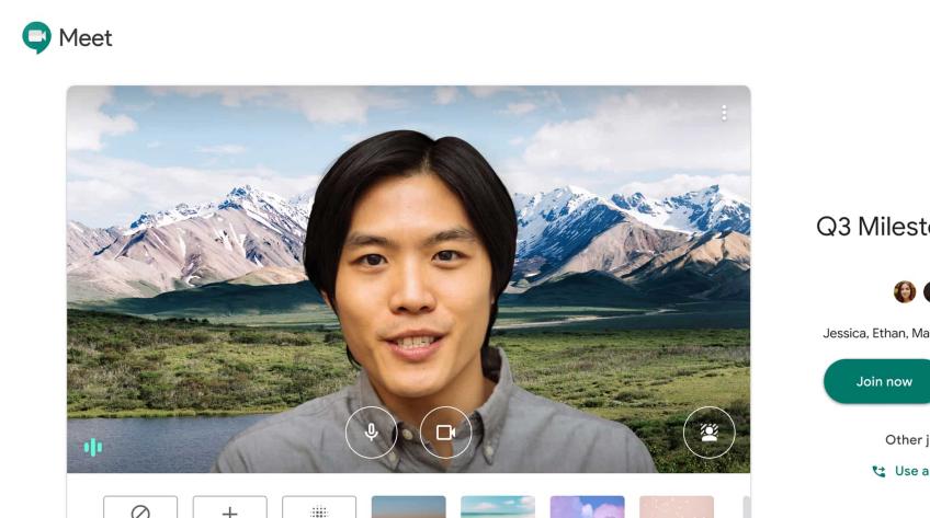 Google Meet está oferecendo planos de fundo para videoconferências