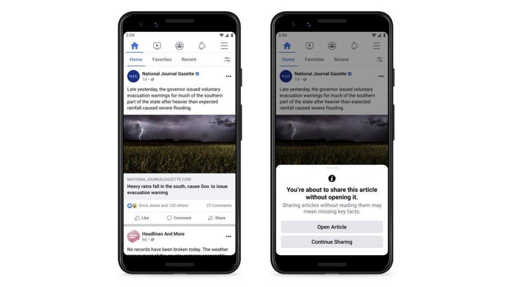 Facebook incentiva usuários a abrir notícias antes de compartilhamento